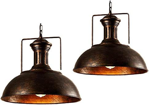 Pendant Light Fixtures Ceiling Hanging Lights with Vintage Industrial Metal Lampshade Rust 2 PCS