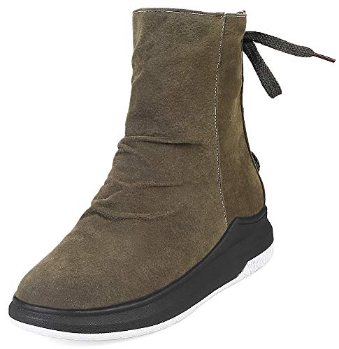 Mofri Women's Casual Round Toe Platform Side Zipper Slouchy Short Sport Boots (Green, 10 M US)