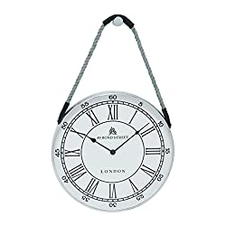 Plutus Brands Metal Hanging Wall Clock with Attached Rope Fitted with Leather Straps, Large
