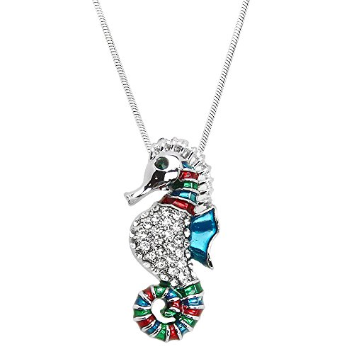 Diamond Seahorse Charm (Seahorse Pendant Necklace High Polished Rhodium J0602)