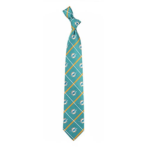 Miami Dolphins NFL Silver Line Woven Silk Neck Tie Eagles Wings