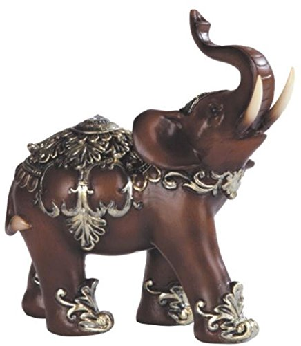 George S. Chen Imports Thai Elephant Wood Like Design Figurine, 6''
