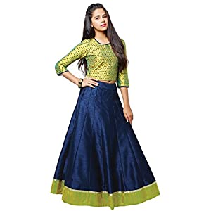 Cartyshop Girl's Linen Readymade Lehenga Choli