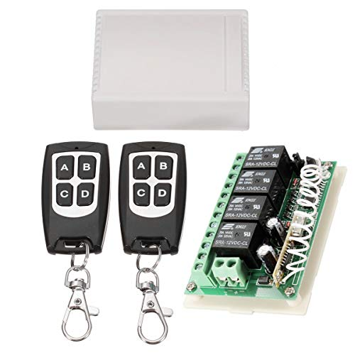 INSMA 433Mhz Wireless RF Switch Long Range DC 12V 4CH Channel Wireless Remote Control Switch, DC12V Relay Receiver Module, Transmitter Toggle Switch RF Relay (2 Transmitter & 1 Receiver) ()