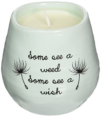 - Pavilion Gift Company Plain Dandelion Weed Some See a Wish Green Ceramic Soy Serenity Scented Candle