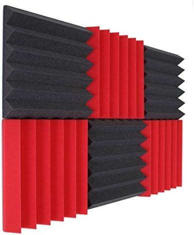 6T 2x12x12 RED//CHARCOAL Acoustic Panels Soundproofing Foam Acoustic Tiles Studio Foam Sound Wedges 6 Pk