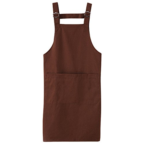Hense Handmade Workshop Tool Apron Cotton & Polyester ,Soft and Ventilated Suit for Kitchen, Garden, Pottery, Craft Workshop, Garage and More Activities, Men & Women(HSW021-005, coffee)