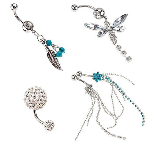 Unique Set of 5 High Quality Surgical Steel Belly Button / Navel 14 Gauge Curved Bars Bananabells Piercings With Different Pendants Including Silver And Blue Colored Gems Flowers And Jewels Tassels / Dangles, Silver Leaf And 3 Blue Beads / Pearls, Rhinestones Studded Silver Colored Dragonfly And Frosted / Frost Crystals Balls By VAGA