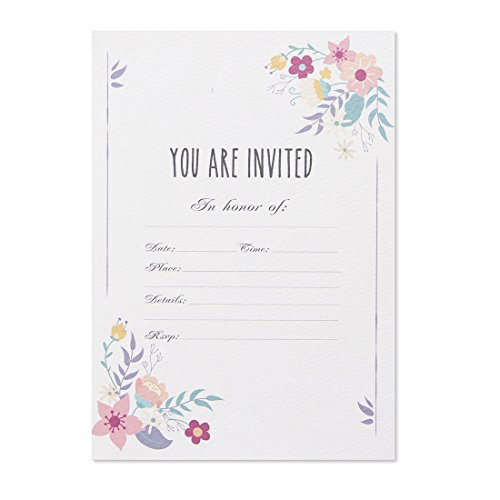 30 Fill-In Invitations with Envelopes, White Floral Wedding Invitation Cards, Any Event, Bridal Shower, Baby Shower, Engagement, Party, Birthday Invites