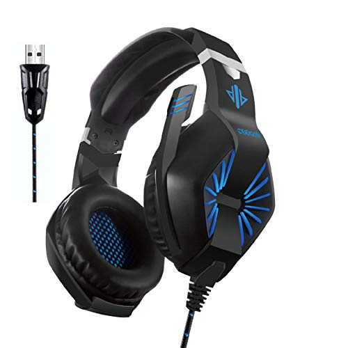 Maxzero USB Gaming Headset with Vibration Over-Ear Headphones with Microphone Noise Isolating Volume Control,Virtual 7.1 Surround Sound,Soft Breathing Earmuffs, LED Light Supports PC & MAC