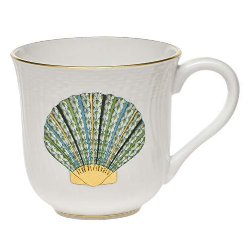 (Herend Scallop Shell Aquatic Porcelain Mug Green Fishnet)