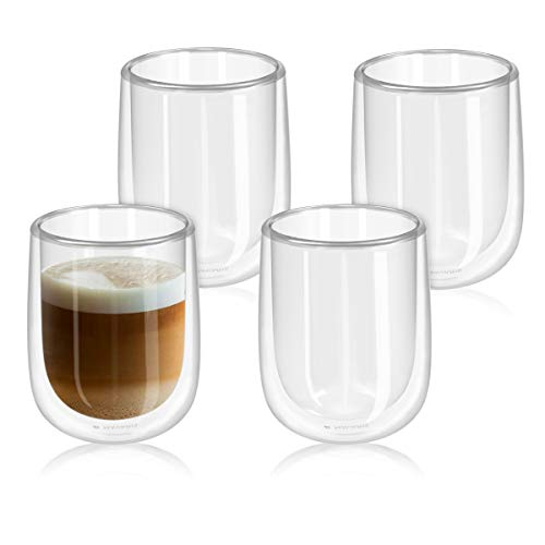 Navaris Set de 4 Vasos de Doble Cristal - Taza de 450ml de Doble Pared Resistente al Calor - para cafe te Helado Bebidas Calientes frias o postres
