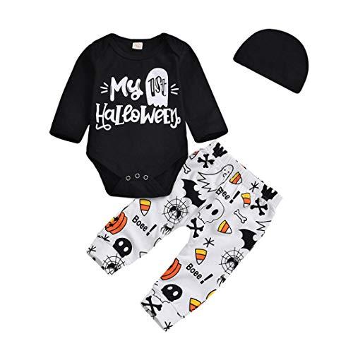 AutumnFall Newborn Clothes 3Pcs Baby Girls Boys Bodysuit ''My Ist Halloween'' Letter Romper Cartoon Pants Hat Outfits Set (Size:12M, Black) -