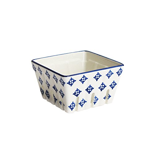 American Atelier 6469-BSKT4 Blue Stamp Square Ceramic Berry Basket, ()