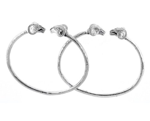 Ram Ends .925 Sterling Silver West Indian Bangles (Pair) (MADE IN (Sterling Silver Ram)