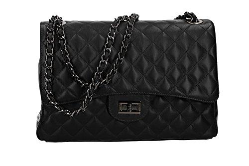 Bolsa de hombro mujer acolchado PIERRE CARDIN negro en cuero Made in Italy VN2678