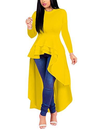 Fashion High Low Tops for Women - Unique Ruffle Long Sleeve Tunic Shirt (XXX-Large Yellow) ()