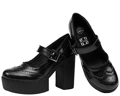 Heels K Women's Leather Black U Mary Shoes Jane Black T Yuni Brogue vqaBw5nFvx