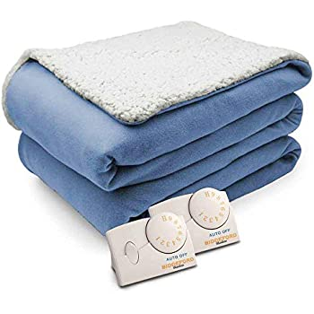 Pure Warmth Comfort Knit Natural Sherpa Electric Heated Blanket Queen Blue
