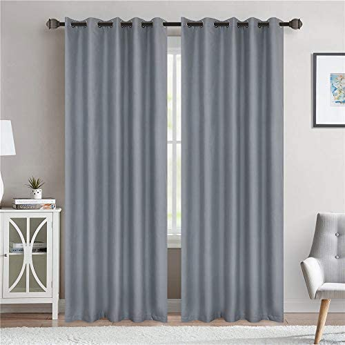 LoyoLady Haze Blue Blackout Curtains 102 Inches Long 2 Panels Grommet Top Insulated Curtains 100 Blackout Curtains