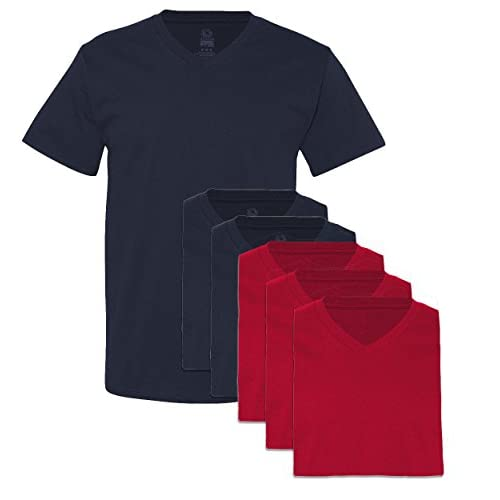 Discount Fruit of the Loom Men\'s 6 Pack V-Neck T-Shirt, 3 Navy / 3 Red, Large hot sale Y6YYLEq6