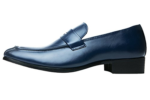 Santimon Mens Penny Loafer Classic Modern Pointed Toe Oxfords Slip On Dress Shoes by Black Blue Red Brown Blue tex4lLPV4