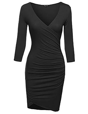 MBE Women's Super Sexy 3/4 Sleeve Body Con Wrap Dress