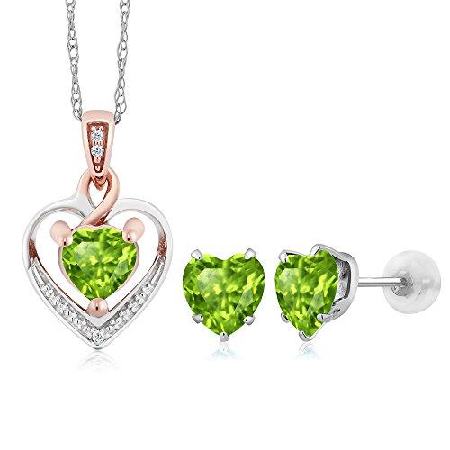 10K White Gold Heart Shape Green Peridot and Diamond Pendant Earrings Set