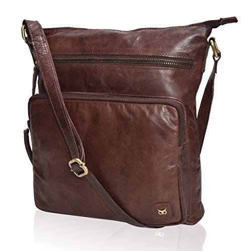 WISE OWL Women's Leather Crossbody Purses and Handbags for-Premium Crossover Bag Over the Shoulders Multi Wax Mud Brun ()