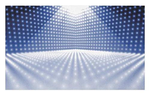 Lunarable Disco Doormat, Vibrant Dotted Stage Image Movie Theater Concert Performance Dance and Music, Decorative Polyester Floor Mat with Non-Skid Backing, 30 W X 18 L inches, Navy Blue White