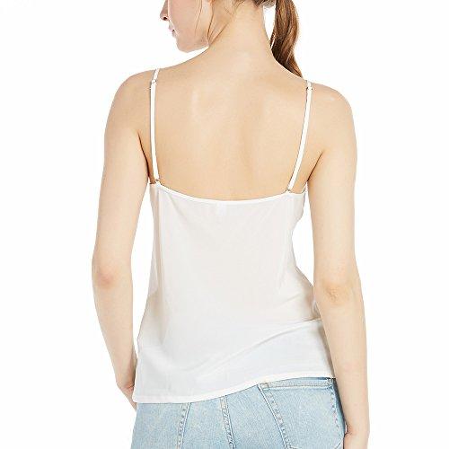 LILYSILK Top Tirante Mujer para Verano Estilo Básico Y Sencillo Camisetas sin Mangas 18 MM Blanco Natural