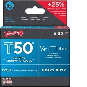 Arrow Fastener Co Inc Arrow Fastener 504 1/4'' 6mm T50 Staples - 24ct. Case