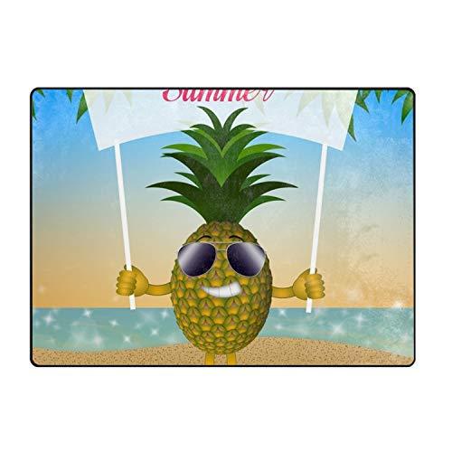 (QIUBDSX Funny Pineapple with Sunglasses Indoor/Outdoor Rubber Floor Mat)