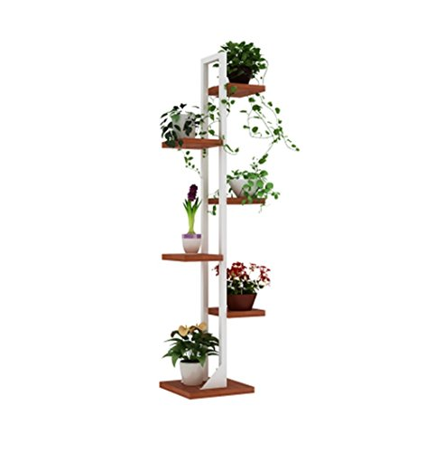 Tier Iron Work Stand - 6-Tier Iron Flower Stand/Flower Racks for Living Room Balcony Bedroom and Indoor/Outdoor Metal Iron Corner Floor Standing Flowerpot Display Stand - White Frame and Teak Color Board (Color : A)
