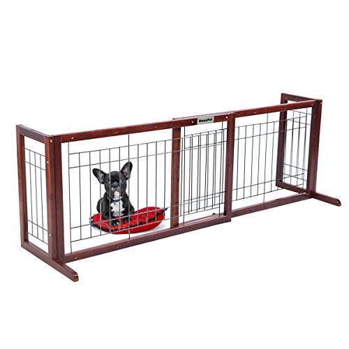 41OWERYIc0L   DazzPet Free Standing Pet Gates | Extra Wide Indoor Small Dog  Gate | Expandable