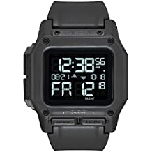 Nixon Regulus All Black Men's Water and Shock Resistant Digital Watch. (46mm. Black Digital Watch Face/Black Locking Looper Band)