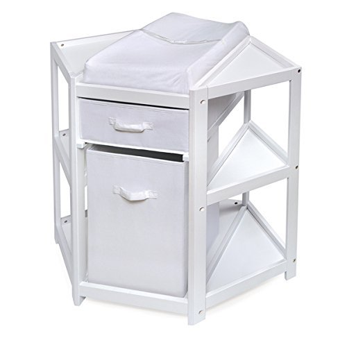 White Diaper Corner Baby Changing Table With Hamper, Drawer & Changing Pad by Badger Basket by Badger Basket