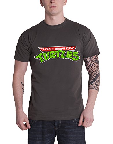 Teenage Mutant Ninja Turtles T Shirt Classic Logo new Official Mens Grey ()