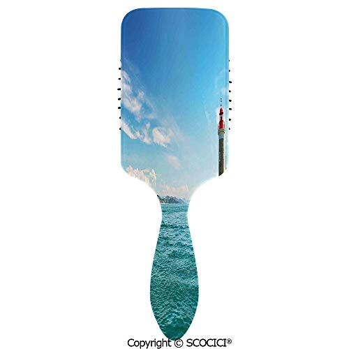 (Hair Brush with Air Cushion Combs Day by the Seaside Sailboats Lighthouse Rocks Clear Sea Clouds Island Seascape Decora for Scalp Massage Anti-static, No Hair Tangle)