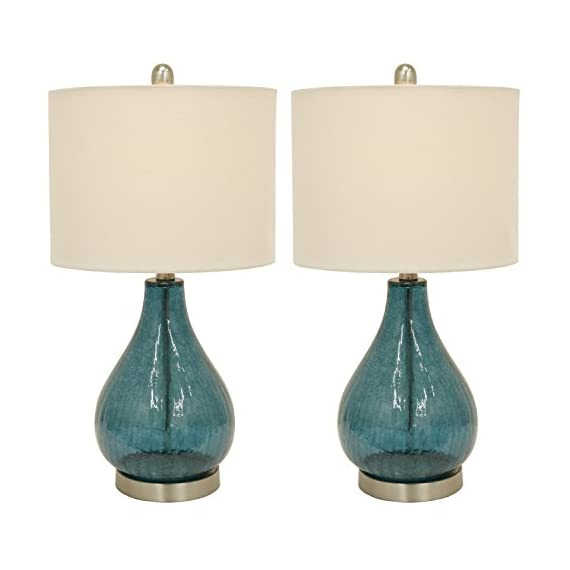 Decor Therapy MP1054 Table Lamp, Emerald Blue Green - Glass and metal table lamp Linen hardback lamp shade Lamp shade Dimension 12 x 12 x 9 - lamps, bedroom-decor, bedroom - 41OWF6i PfL. SS570  -