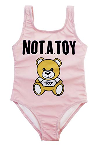 stylesilove Baby Girls Fully Lined Funny Teddy Bear Prints One-Piece Swimsuit Bathing Suit (Pink, 80/6-12 Months)