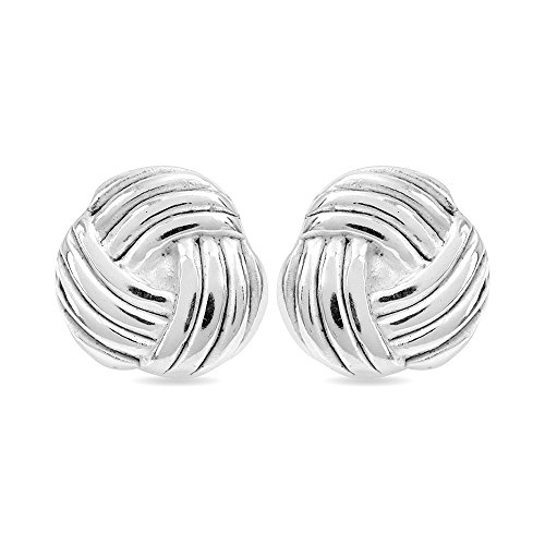 Light Love Knot - LeCalla Sterling Silver Jewelry Light Weight Love Knot Pattern Stud Earrings for Women