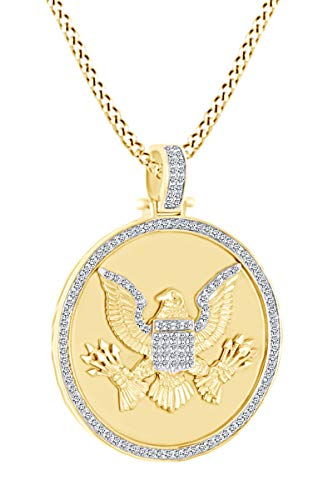 3/4 Carat Round White Natural Diamond Eagle Disc Pendant Necklace 10k Solid Yellow Gold (0.75 Cttw)