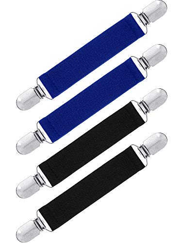 Satinior Stainless Steel Mitten Clips, Elastic Glove and Mitten Clips for Kids Baby Boys Girls Using (Black, Royal Blue, 4 Pieces)
