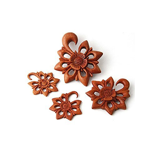 JewelryVolt Pair Organic Flower Tribal Floral Design Sawo Wood Ear Hook Plugs Gauges (4 Millimeters) -