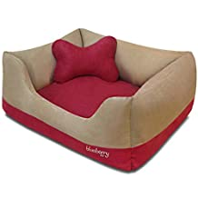 """Blueberry Pet Heavy Duty Microsuede Overstuffed Dog Bed, Recyclable & Removable Stuffing w/YKK Zippers, 25"""" x 21"""" x 10"""", 6 Lbs, Beige and Red Color-block Beds for Cats & Dogs"""