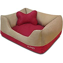 "Blueberry Pet Heavy Duty Microsuede Overstuffed Bolster Lounge Dog Bed, Removable & Washable Cover w/YKK Zippers, 25"" x 21"" x 10"", 6 Lbs, Beige and Red Color-block Beds for Cats & Dogs"