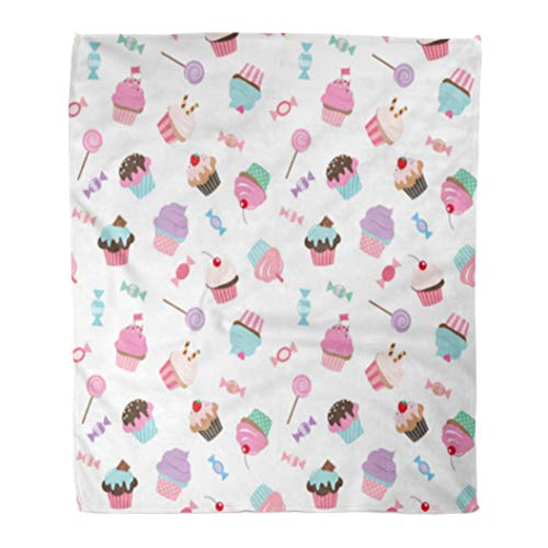 Golee Throw Blanket Birthday Pattern Cupcakes and Candies Pink Violet Colors Girly Raster 50x60 Inches Warm Fuzzy Soft Blanket for Bed Sofa ()