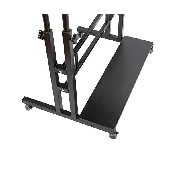 SIDUCAL Mobile Stand Up Desk, Adjustable Laptop Desk with Wheels Storage Desk Home Office Workstation, Rolling Table… 7