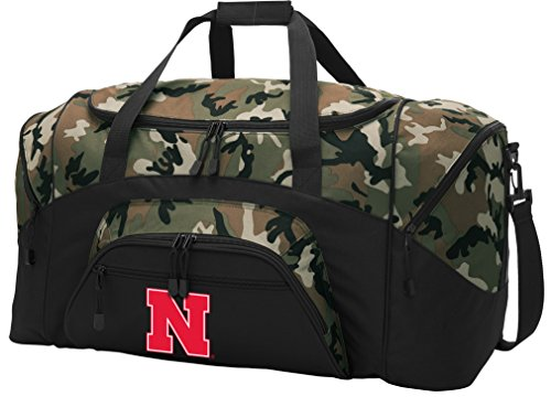 Broad Bay Large Nebraska Huskers Duffel Bag CAMO University of Nebraska Suitcase Duffle Luggage Gift Idea for Men Man Him!